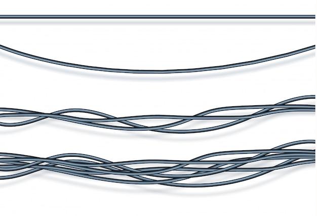 Realistyczne elektryczne szare przewody i kable przemysłowe.