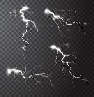 Realistyczne elementy burzy z błyskawicami i iskrami na białym tle ilustracji wektorowych