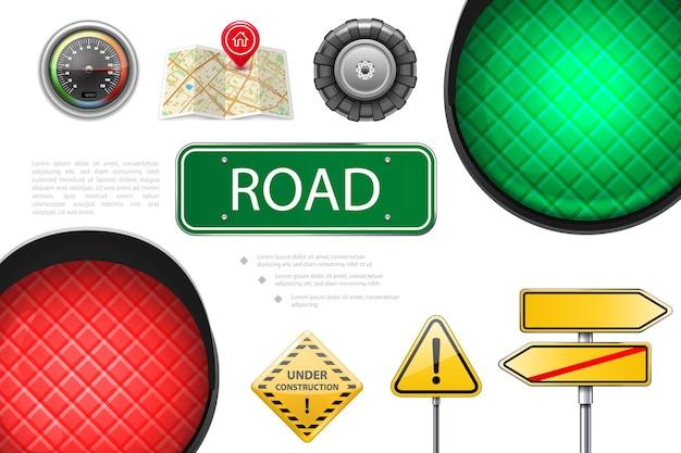 Realistyczne elementy drogowe kolorowa kompozycja ze światłami drogowymi szyldy prędkościomierza mapy wskaźniki koło samochodu w budowie i ilustracja znaki ostrzegawcze