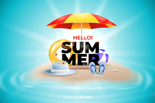 Realistyczne elementy lato na tle plaży
