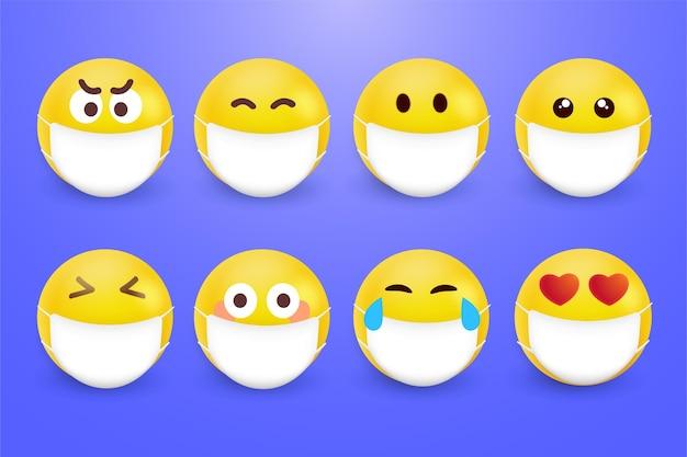 Realistyczne emoji z maskami na twarz