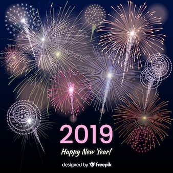Realistyczne fajerwerki nowy rok tło