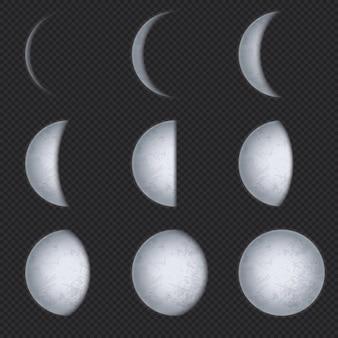 Realistyczne fazy księżyca. faza księżyca, pełna księżyca i nowy półksiężyc z nocnym niebem. powierzchnia satelity ziemi z tekstura wektor astronomiczny zestaw. astronomia ilustracja półksiężyca i zaćmienia