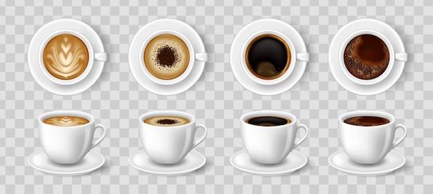 Realistyczne filiżanki do kawy. czarna kawa, cappuccino, latte, espresso, macchiatto, mokka widok z góry i z boku.