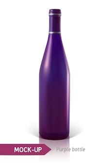 Realistyczne fioletowe butelki wina lub koktajlu