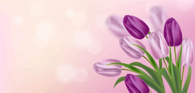 Realistyczne fioletowe tulipany ilustracji