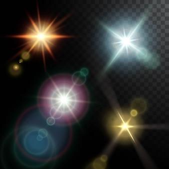 Realistyczne flary soczewek w kolorze złotego, różowego, niebieskiego i pomarańczowego na czarnym półprzezroczystym