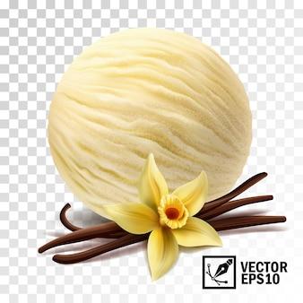 Realistyczne gałki lodów waniliowych (kwiat wanilii i laski)