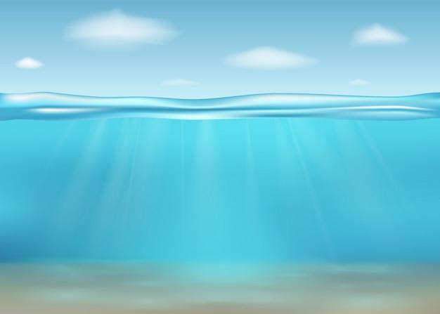 Realistyczne głębokie morze podwodne. baner z poziomą przezroczystą powierzchnią wody. podwodne głębokie morze. ilustracja.