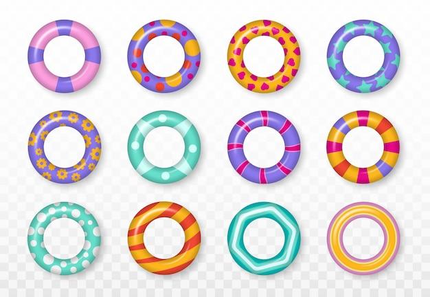 Realistyczne gumowe pływanie 3d pierścienie na przezroczystym tle. zestaw kolorowych pierścieni pływackich. letnie wakacje lub bezpieczeństwo podróży. motyw lato, woda i plaża, bezpieczne ikony. ilustracja.
