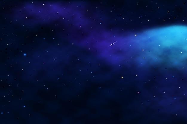 Realistyczne gwiazdy i planety w tle galaktyki