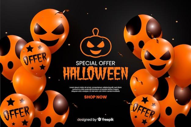 Realistyczne halloween sprzedaż tło z balonów