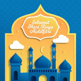 Realistyczne hari raya aidilfitri z meczetem i księżycem