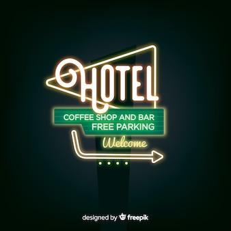 Realistyczne hotel neon znak tło