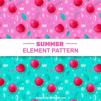 Realistyczne i ręcznie rysowane letnie wzory elementów
