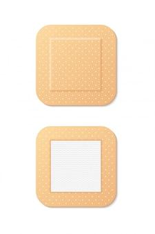 Realistyczne ikona duży kwadrat medycznych tynk. zestaw pierwszej pomocy, gojenie, obrażenia. koncepcja tynku. ilustracja może służyć do tematów takich jak medycyna, farmacja, opieka zdrowotna