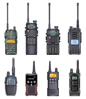 Realistyczne ikona walkie talkie. realistyczny zestaw ikon radio walky. ilustracja walkie talkie na białym tle.