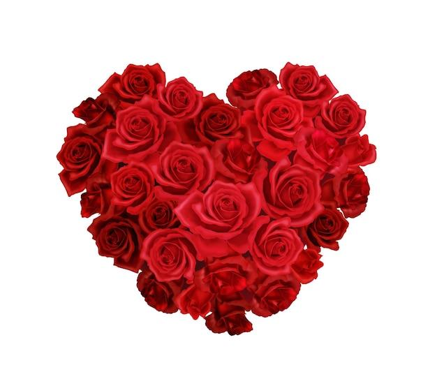 Realistyczne ilustracja bukiet czerwonych róż w kształcie serca