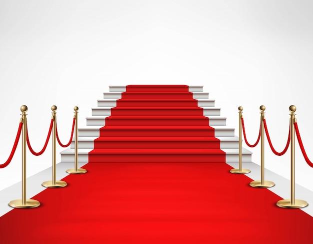 Realistyczne ilustracja czerwony dywan biały schody