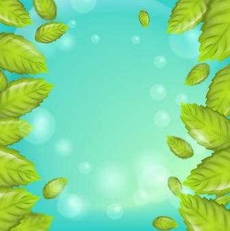 Realistyczne ilustracja pionowe liści mięty 3d