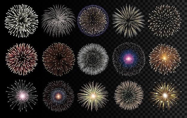 Realistyczne ilustracje fajerwerków. dekoracje świąteczne, urodzinowe i noworoczne.