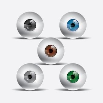 Realistyczne ilustracje gałki ocznej