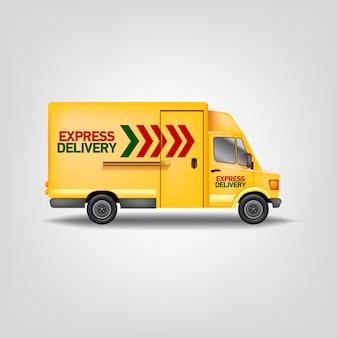Realistyczne ilustracje żółty ekspresowy samochód dostawczy. szablon ciężarówki usługi logistyczne