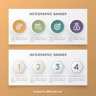 Realistyczne infographic transparenty z geometrycznych kształtów