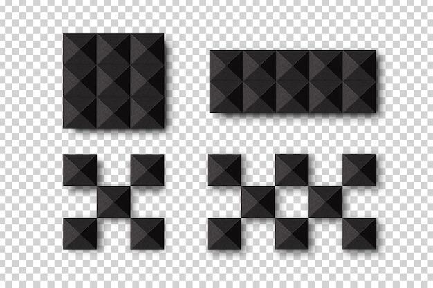 Realistyczne izolowane dźwiękoszczelne bloki ścienne do dekoracji i pokrycia na przezroczystym tle. koncepcja dźwiękoszczelnego sprzętu akustycznego i studia muzycznego.