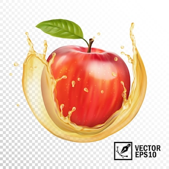 Realistyczne jabłko w przezroczystej kropli soku. ręcznie edytowalna siatka