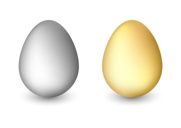 Realistyczne jaja na białym tle.