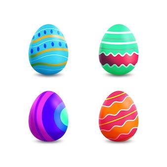 Realistyczne jajka wielkanocne z kolorowymi liniami