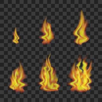 Realistyczne jasne płomienie ognia ustawione na przezroczystym