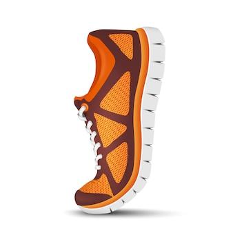 Realistyczne jasne sportowe buty do biegania.