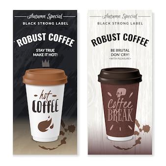 Realistyczne jednorazowe kubki do kawy pionowe banery