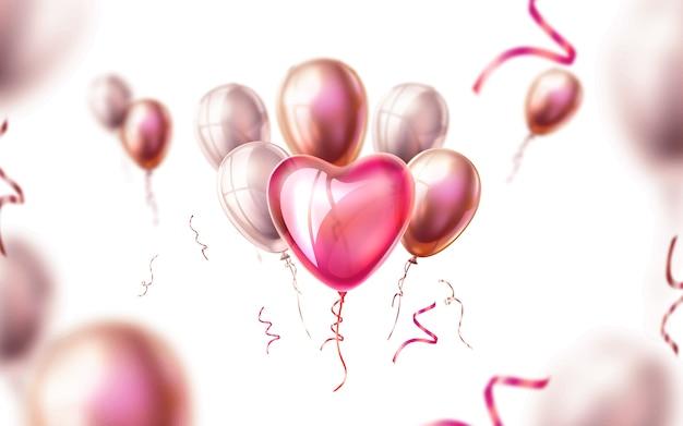 Realistyczne jedwabne wstążki balon serce wektor