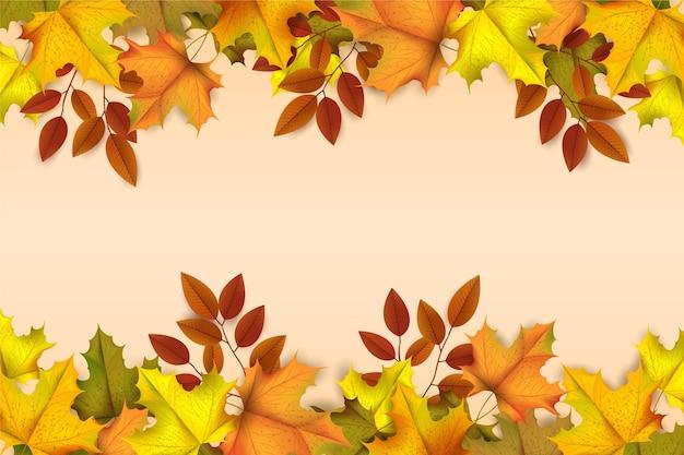 Realistyczne jesienne liście tło