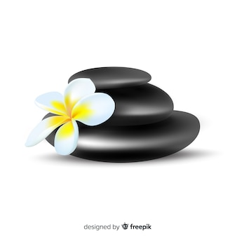 Realistyczne kamienie spa z kwiatami