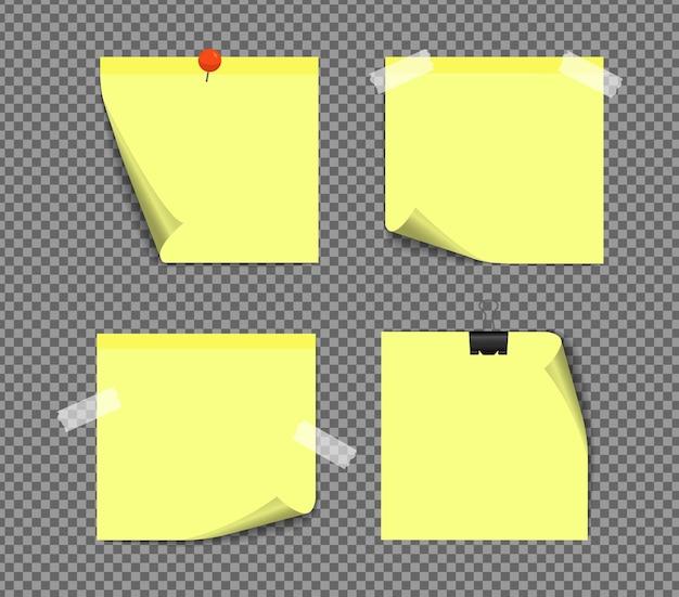 Realistyczne karteczki na białym tle z prawdziwym cieniem. kwadratowe przypomnienia z papieru samoprzylepnego z cieniami, papierowa strona.