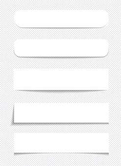 Realistyczne karteczki na białym tle z prawdziwym cieniem na białym tle. kwadratowe przypomnienia z papieru samoprzylepnego z cieniami.