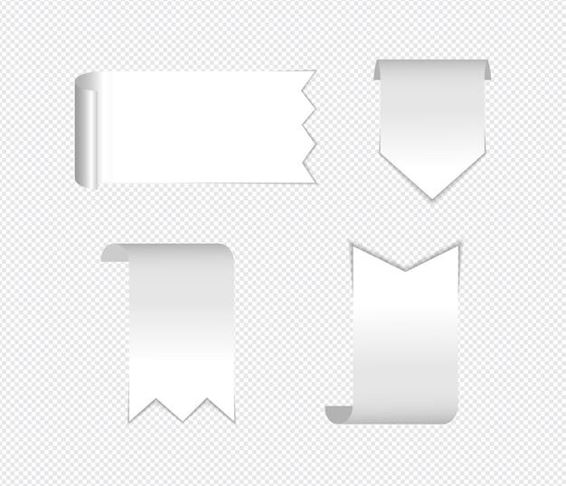 Realistyczne karteczki na białym tle z prawdziwym cieniem na białym tle.