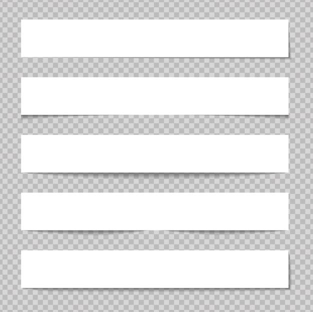 Realistyczne karteczki na białym tle z prawdziwym cieniem na białym tle