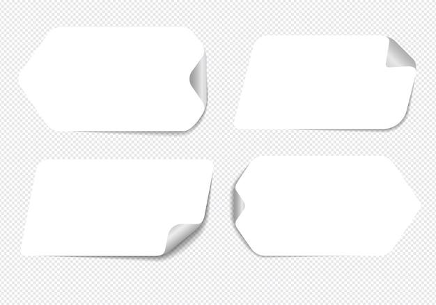 Realistyczne karteczki na białym tle z prawdziwym cieniem.