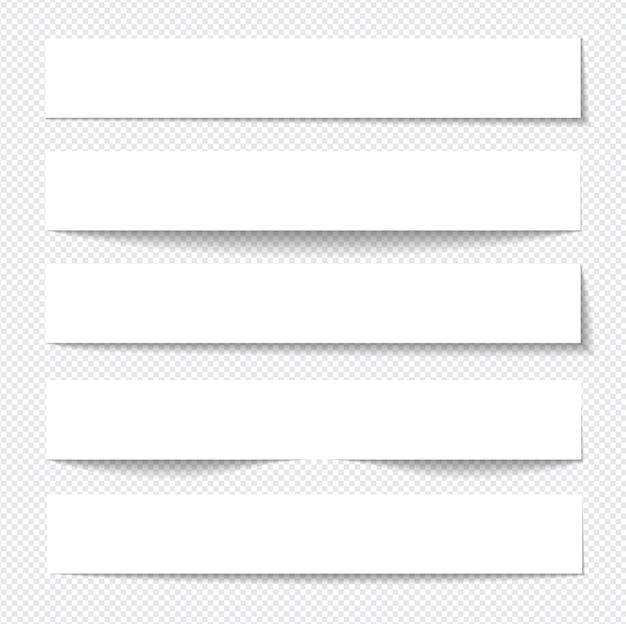 Realistyczne karteczki na białym tle z prawdziwym cieniem
