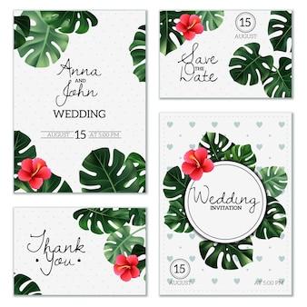 Realistyczne kartki ślubne roślin domowych