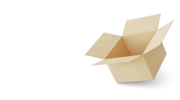 Realistyczne kartonowe brązowe pudełko dostawy z cieniem