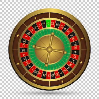 Realistyczne kasyno hazardowe koło ruletki na przezroczystym tle