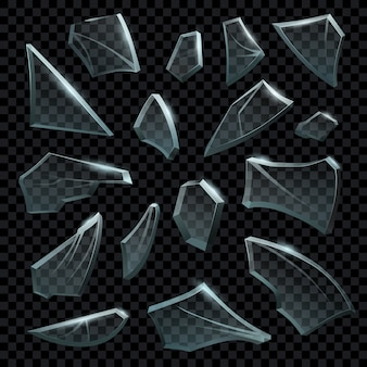 Realistyczne kawałki rozbitego szkła bezbarwnego