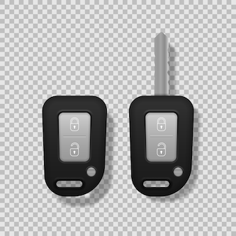 Realistyczne kluczyki do samochodu kolor czarny na białym tle. zestaw elektronicznego kluczyka samochodowego z przodu iz tyłu oraz systemu alarmowego. 3d realistyczne