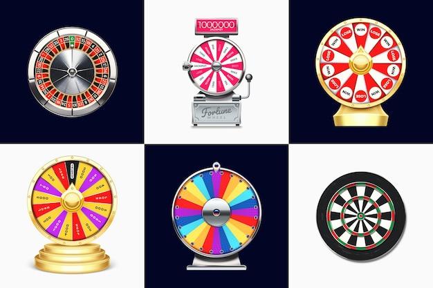 Realistyczne koła fortuny, ruletka w kasynie i zestaw ilustracji do rzutek